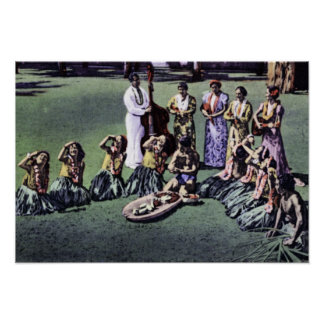 Honolulu Hawaii Hula Maids och Poi-på ett pund Poster