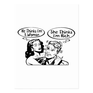 Honom funderare henne funderare vykort