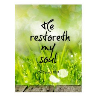Honom restoreth min Scripture för SoulbibelVerse Vykort