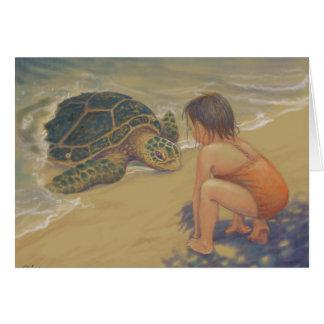 Honu (grön havssköldpadda) hälsningar hälsningskort
