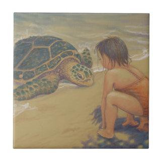 Honu (grön havssköldpadda) hälsningar liten kakelplatta