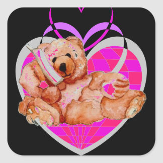 Honungbjörn som talar på mobila nallerosalilor fyrkantigt klistermärke