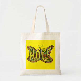 Hope Butterfly Ord Art Inspirational Tote bags Tygkasse