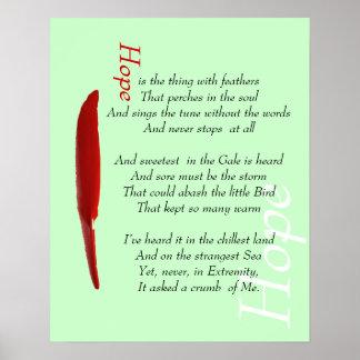 Hopp är en sak med motivational fjädrar postar print