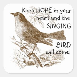 Hopp för vintagefågelbehålla i dina fyrkantigt klistermärke