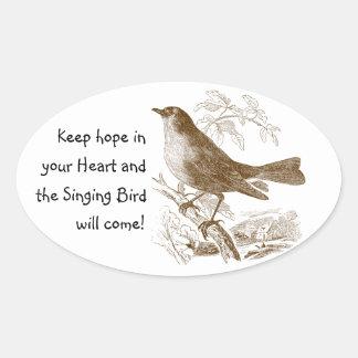 Hopp för vintagefågelbehålla i dina ovalt klistermärke