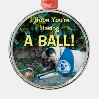Hopp har du EN BOLL! Rund Silverfärgad Julgransprydnad