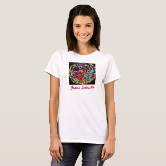 Hopp som läker kyrkliga Jesus, sparar kvinna T-shirt
