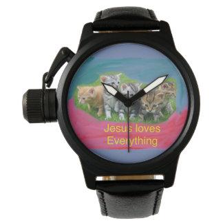 Hopp som läker kyrkliga klockakattungar och Jesus Armbandsur