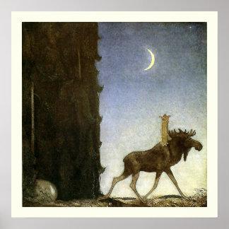 Hoppa älgen och princessen Tuvstarr av John Bauer Poster