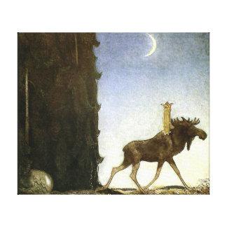 Hoppa älgen och princessen Tuvstarr av John Bauer Canvastryck