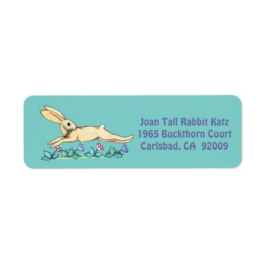 Hoppa kaninetiketten för Joan Returadress Etikett