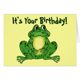 Hoppy groda - barns födelsedagkort hälsningskort