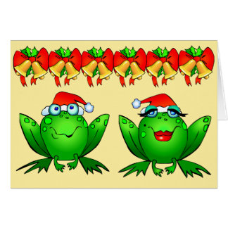 Hoppy Santa för helgdagartecknadgrodor hattar Hälsningskort