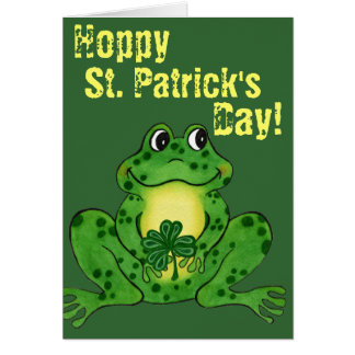 Hoppy Sts Patrick dag - Hoppy grodakort Hälsningskort