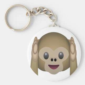 Hör ingen ond apa Emoji Rund Nyckelring