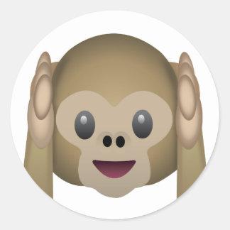 Hör ingen ond apa Emoji Runt Klistermärke