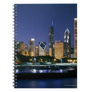 Horisont av i stadens centrum Chicago på natten Anteckningsbok
