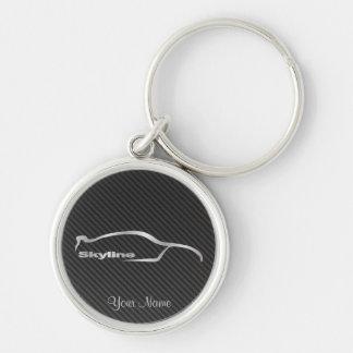 HorisontsilverSilhouette med fauxkol Rund Silverfärgad Nyckelring