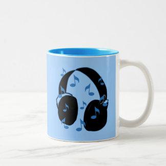 Hörlurar med mikrofon med musik noter för baby i Två-Tonad mugg
