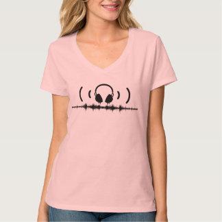 Hörlurar med Soundwaves och audio i svarten v2 T-shirts