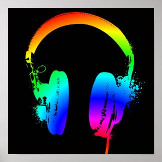 Hörlurar som regnbågen stencilerar poster