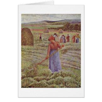 Höskörd på Eragny av Camille Pissarro Hälsningskort