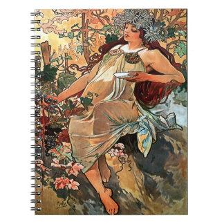 Höst av Alfons Mucha 1896 Anteckningsbok Med Spiral