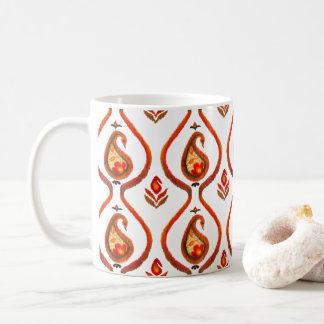 Höst jordnäraa Ikat Hand målade Paisley Kaffemugg