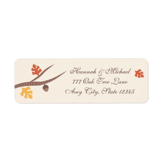 Höst löv ekollon för gren för Oakträd Returadress Etikett