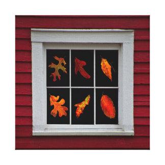 Höst löv i gammalt mal fönstret canvastryck
