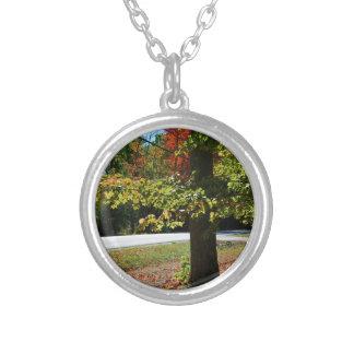 Höst löv i Maine Silverpläterat Halsband