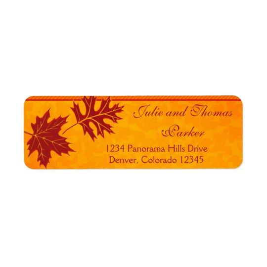 Höst löv orange bröllopreturetiketter returadress etikett
