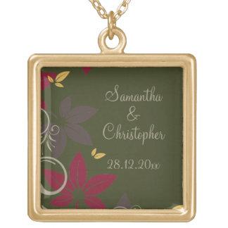 Höst löv på grönt bröllop guldpläterat halsband