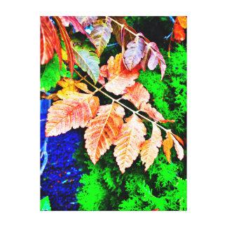 Höst löv på vintergrön bakgrund canvastryck