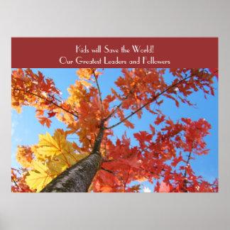 Höst löv som konst skrivar ut ska ungar sparar vä affischer