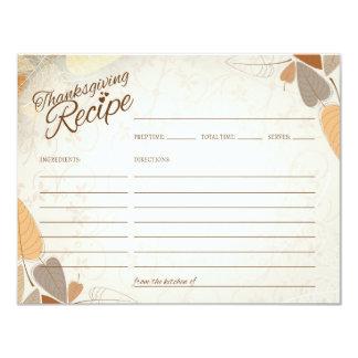 Höst löv thanksgivingreceptkort 10,8 x 14 cm inbjudningskort