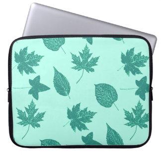 Höst löv - turkos och aqua laptop sleeve