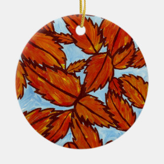 Höst lövprydnad julgransprydnad keramik