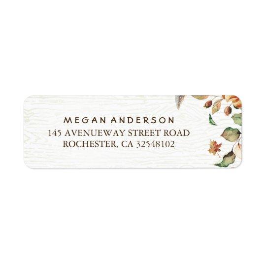 Höst lövskördbröllop returadress etikett