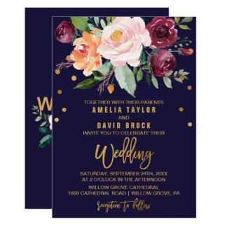 Höstblommigt med typografitäckningbröllop 12,7 x 17,8 cm inbjudningskort