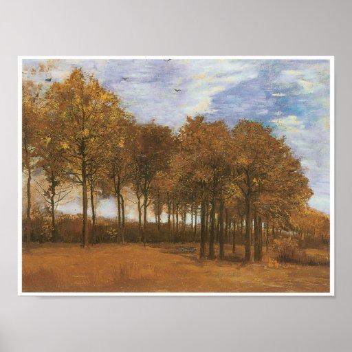 Hösten landskap träd affisch