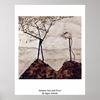 Höstsol och träd av Egon Schiele Affisch