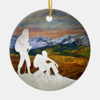 Höstvandring Rund Julgransprydnad I Keramik