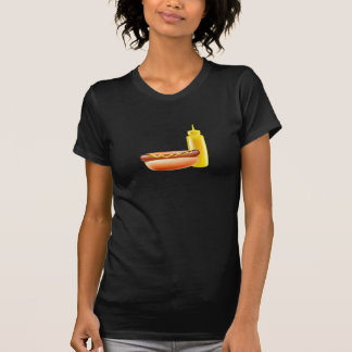 Hotdog med senapsgultt flaskakvinna T-tröja Tee Shirt