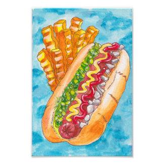 Hotdog och småfiskar fototryck