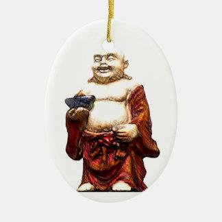 Hotei som skrattar Buddha Ovalformad Julgransprydnad I Keramik