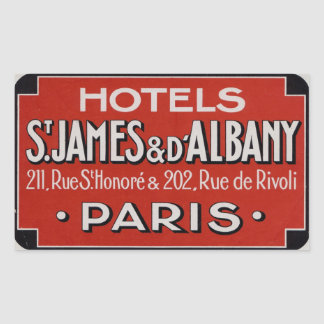 Hotell St James & d'Albaby (Paris frankriken) Rektangulärt Klistermärke