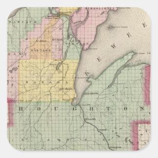 Houghton County Michigan Fyrkantigt Klistermärke