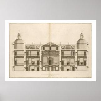 Houghton Hall: dela upp av väster beklär, inristat Poster